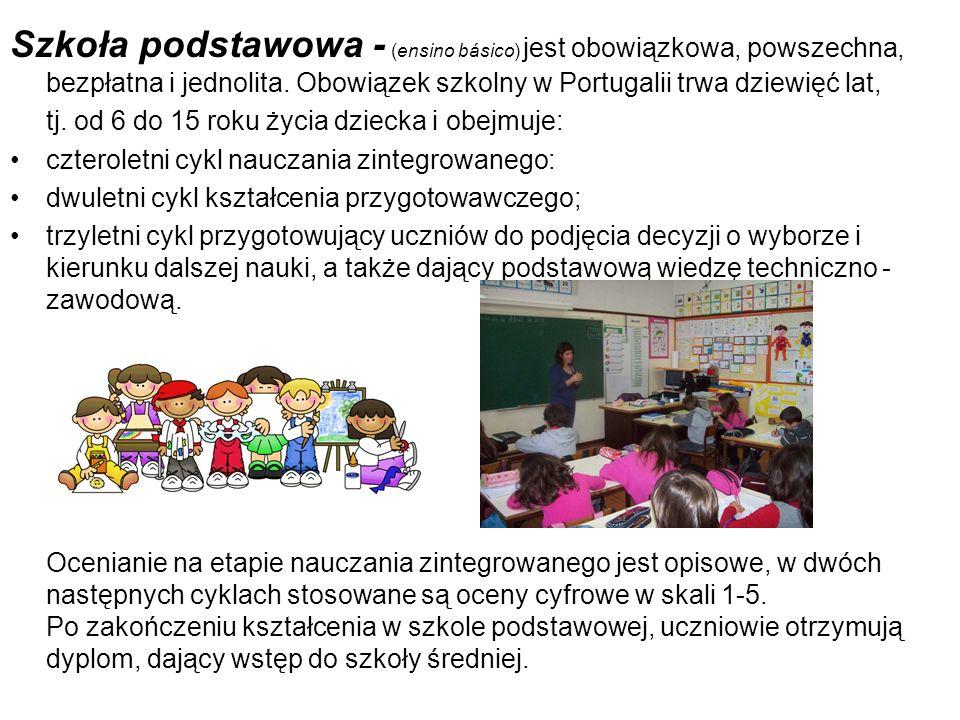 Szkoła podstawowa - (ensino básico) jest obowiązkowa, powszechna, bezpłatna i jednolita. Obowiązek szkolny w Portugalii trwa dziewięć lat, tj. od 6 do