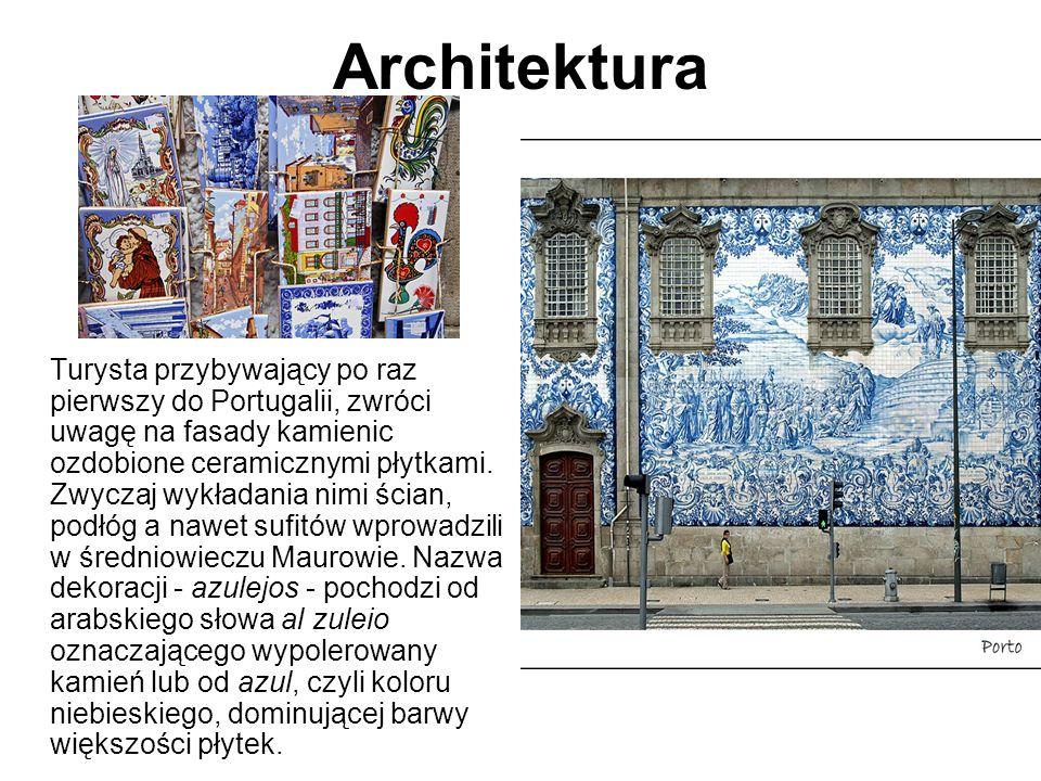 Architektura Turysta przybywający po raz pierwszy do Portugalii, zwróci uwagę na fasady kamienic ozdobione ceramicznymi płytkami. Zwyczaj wykładania n