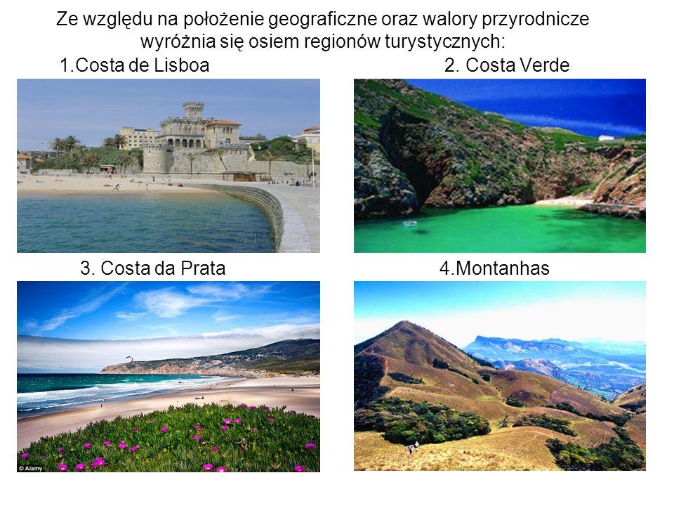 Ze względu na położenie geograficzne oraz walory przyrodnicze wyróżnia się osiem regionów turystycznych: 1.Costa de Lisboa 2. Costa Verde 3. Costa da