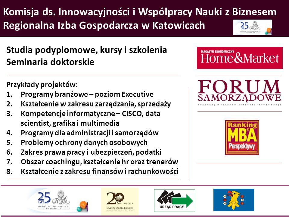 Komisja ds. Innowacyjności i Współpracy Nauki z Biznesem Regionalna Izba Gospodarcza w Katowicach Studia podyplomowe, kursy i szkolenia Seminaria dokt