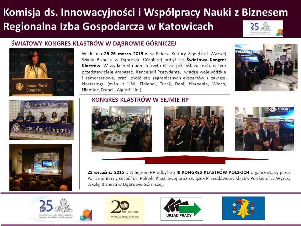 Komisja ds. Innowacyjności i Współpracy Nauki z Biznesem Regionalna Izba Gospodarcza w Katowicach 22 września 2015 r. w Sejmie RP odbył się III KONGRE