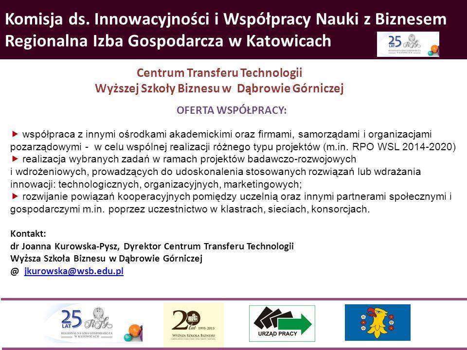 Komisja ds. Innowacyjności i Współpracy Nauki z Biznesem Regionalna Izba Gospodarcza w Katowicach Centrum Transferu Technologii Wyższej Szkoły Biznesu