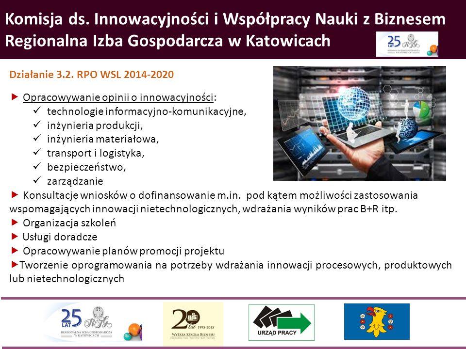 Komisja ds. Innowacyjności i Współpracy Nauki z Biznesem Regionalna Izba Gospodarcza w Katowicach Działanie 3.2. RPO WSL 2014-2020  Opracowywanie opi