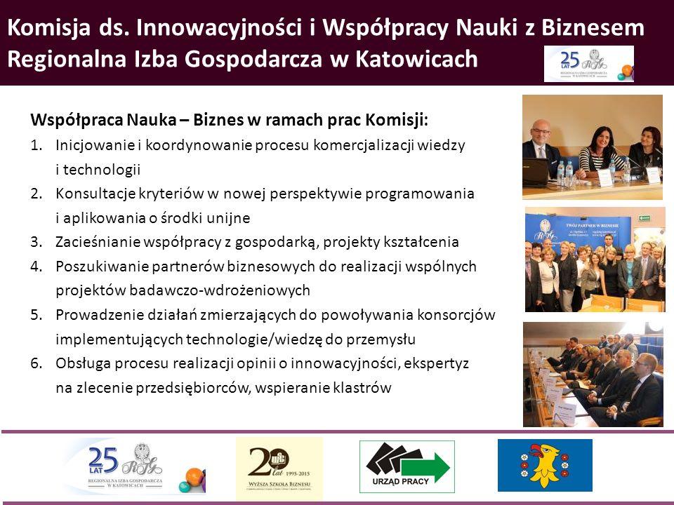 Komisja ds. Innowacyjności i Współpracy Nauki z Biznesem Regionalna Izba Gospodarcza w Katowicach Współpraca Nauka – Biznes w ramach prac Komisji: 1.I