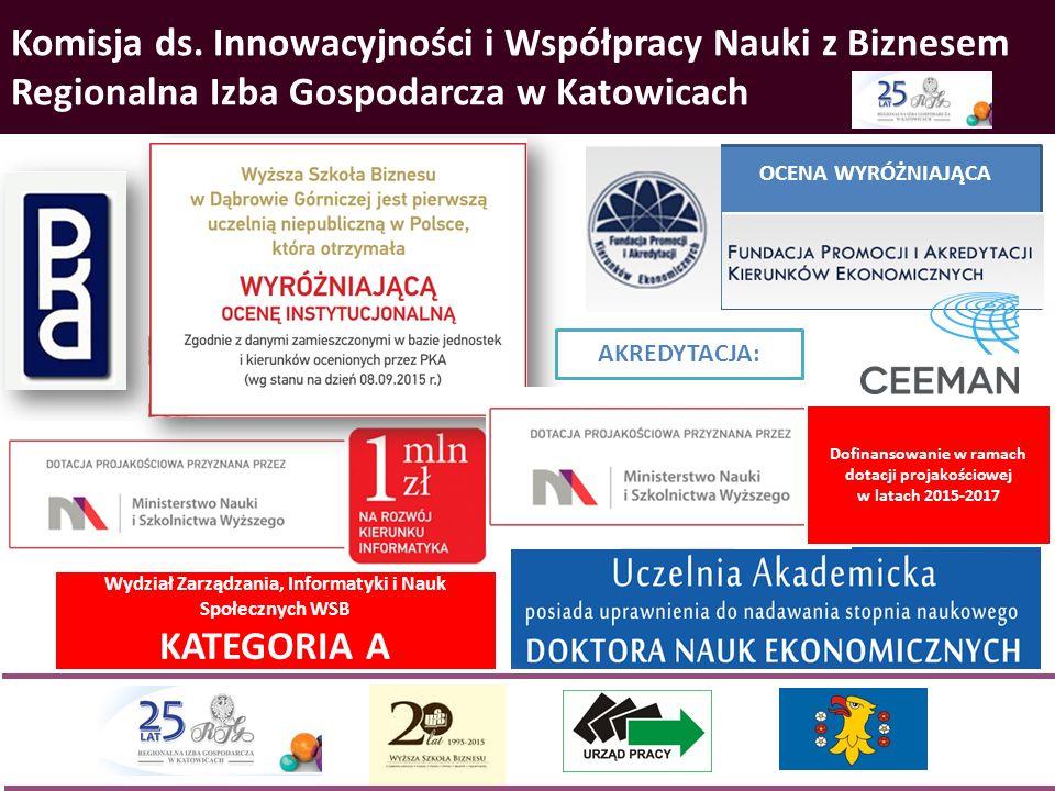 Komisja ds. Innowacyjności i Współpracy Nauki z Biznesem Regionalna Izba Gospodarcza w Katowicach OCENA WYRÓŻNIAJĄCA Dofinansowanie w ramach dotacji p