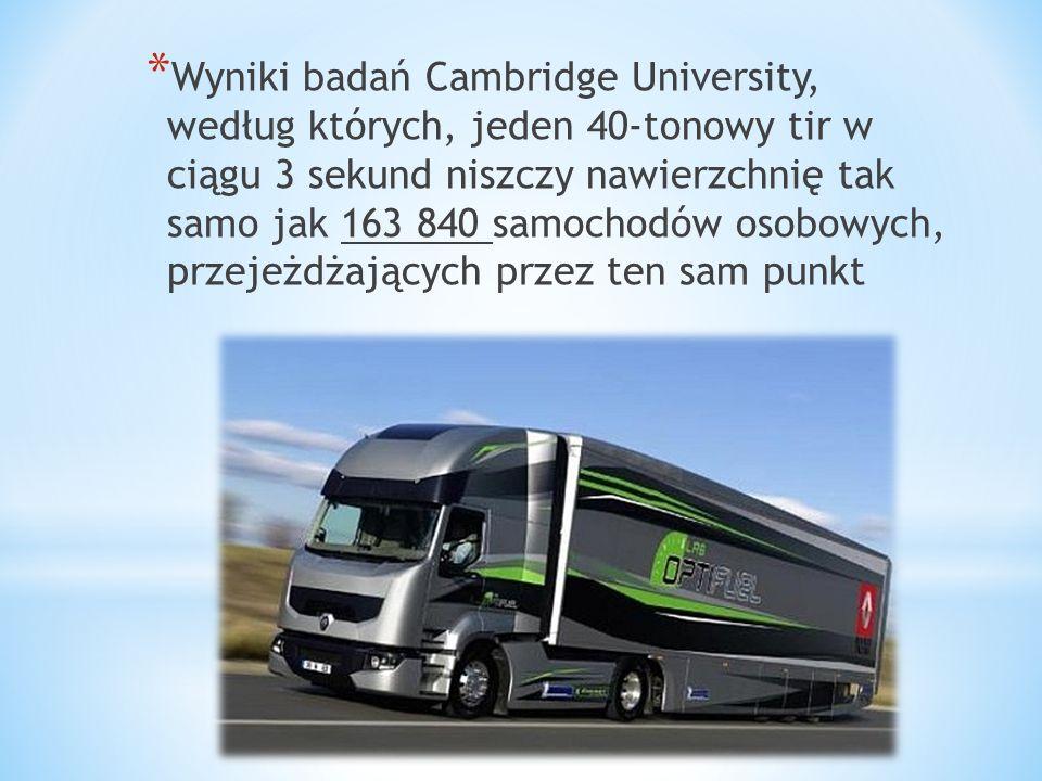 * Wyniki badań Cambridge University, według których, jeden 40-tonowy tir w ciągu 3 sekund niszczy nawierzchnię tak samo jak 163 840 samochodów osobowy