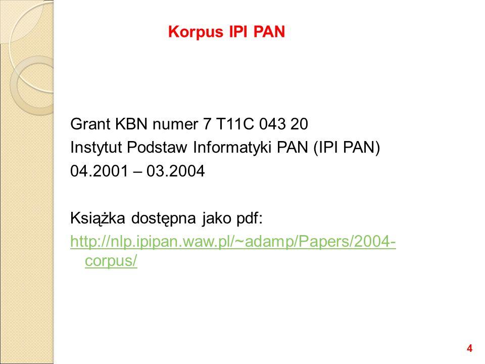 Grant KBN numer 7 T11C 043 20 Instytut Podstaw Informatyki PAN (IPI PAN) 04.2001 – 03.2004 Książka dostępna jako pdf: http://nlp.ipipan.waw.pl/~adamp/