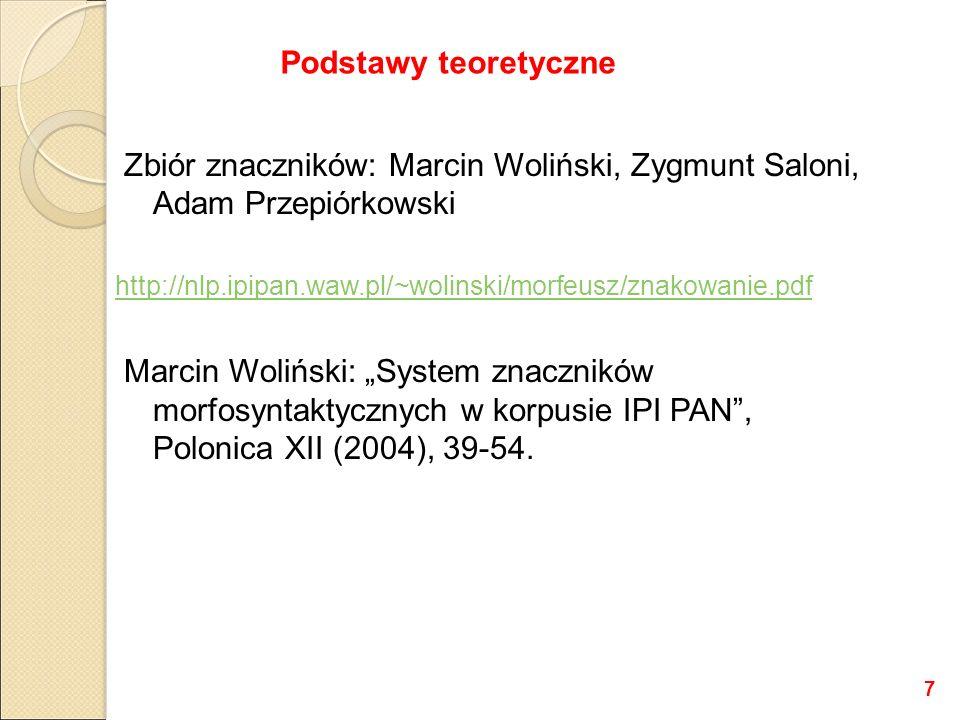 """Zbiór znaczników: Marcin Woliński, Zygmunt Saloni, Adam Przepiórkowski http://nlp.ipipan.waw.pl/~wolinski/morfeusz/znakowanie.pdf Marcin Woliński: """"Sy"""