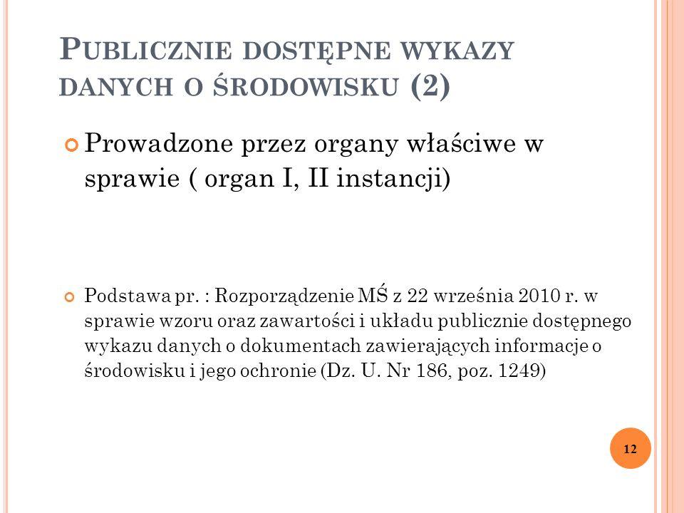 P UBLICZNIE DOSTĘPNE WYKAZY DANYCH O ŚRODOWISKU (2) Prowadzone przez organy właściwe w sprawie ( organ I, II instancji) Podstawa pr.
