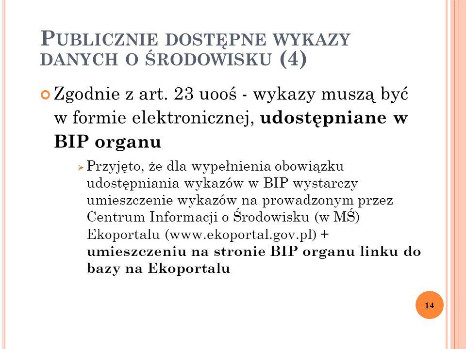 P UBLICZNIE DOSTĘPNE WYKAZY DANYCH O ŚRODOWISKU (4) Zgodnie z art.