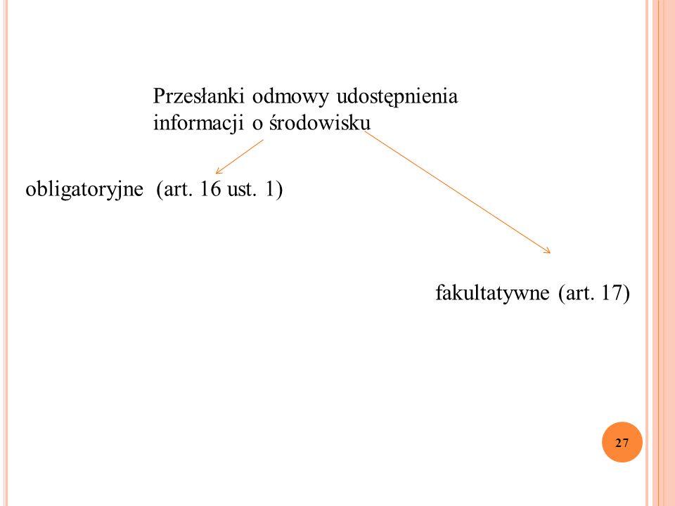 27 obligatoryjne (art. 16 ust. 1) fakultatywne (art.