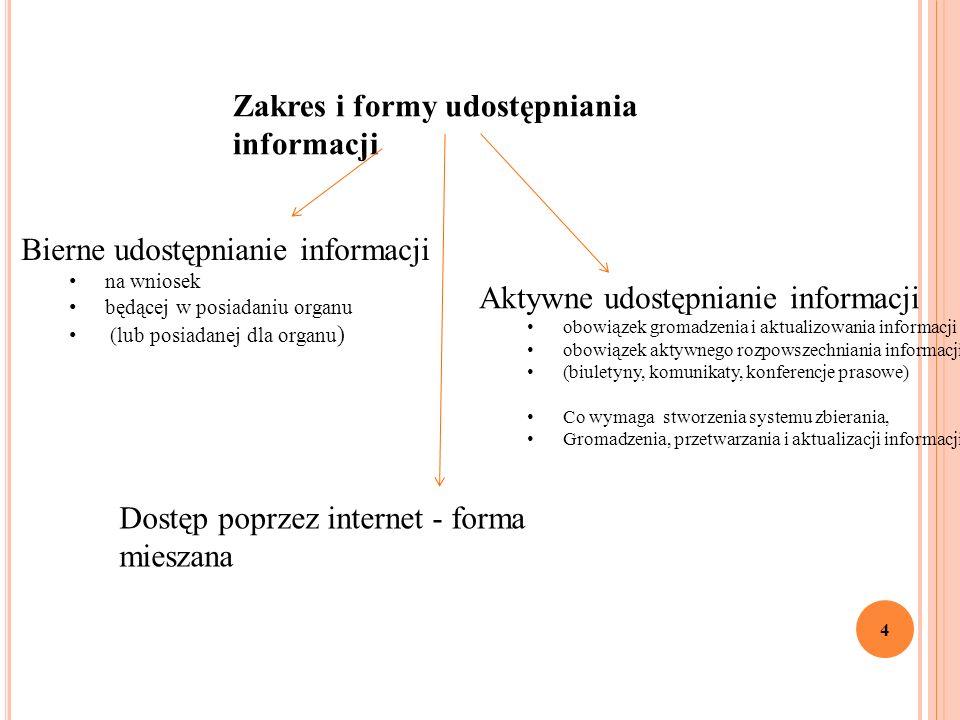 4 Zakres i formy udostępniania informacji Bierne udostępnianie informacji na wniosek będącej w posiadaniu organu (lub posiadanej dla organu ) Aktywne udostępnianie informacji obowiązek gromadzenia i aktualizowania informacji obowiązek aktywnego rozpowszechniania informacji (biuletyny, komunikaty, konferencje prasowe) Co wymaga stworzenia systemu zbierania, Gromadzenia, przetwarzania i aktualizacji informacji) Dostęp poprzez internet - forma mieszana