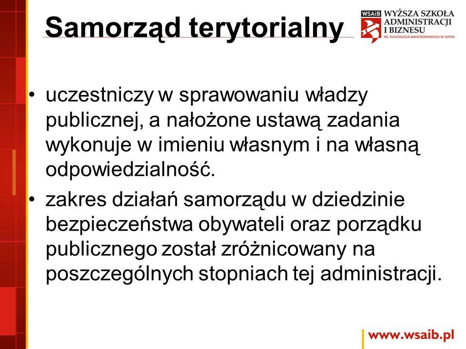 Samorząd terytorialny uczestniczy w sprawowaniu władzy publicznej, a nałożone ustawą zadania wykonuje w imieniu własnym i na własną odpowiedzialność.