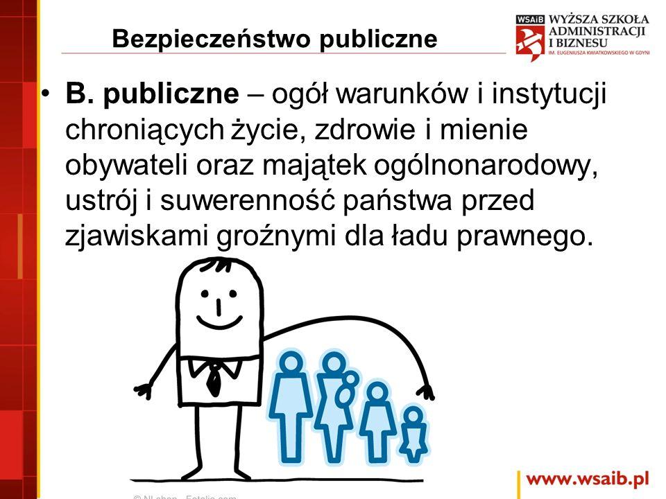 Bezpieczeństwo publiczne Jest przedmiotem działalności ochronnej administracji publicznej, zapewniającej oczekiwany stan wewnątrz państwa, gwarantującej jego rozwój przy minimalizowaniu zagrożeń i respektowaniu norm prawnych … Jest też przedmiotem coraz szerszego zainteresowania …
