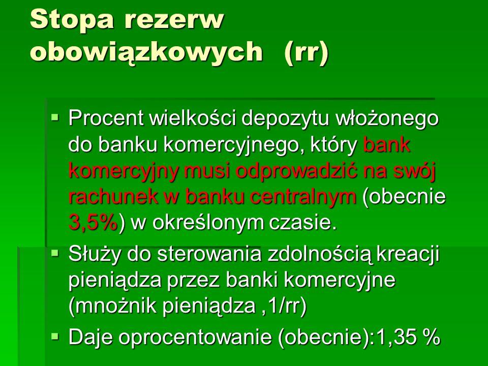 Stopa rezerw obowiązkowych (rr)  Procent wielkości depozytu włożonego do banku komercyjnego, który bank komercyjny musi odprowadzić na swój rachunek