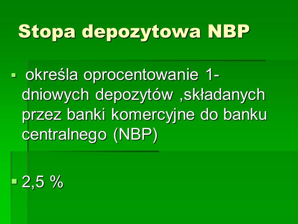 Stopa depozytowa NBP  określa oprocentowanie 1- dniowych depozytów,składanych przez banki komercyjne do banku centralnego (NBP)  2,5 %