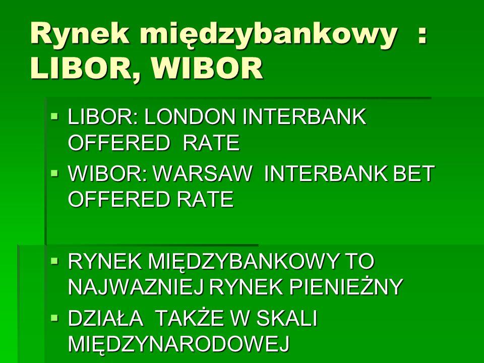 Rynek międzybankowy : LIBOR, WIBOR  LIBOR: LONDON INTERBANK OFFERED RATE  WIBOR: WARSAW INTERBANK BET OFFERED RATE  RYNEK MIĘDZYBANKOWY TO NAJWAZNIEJ RYNEK PIENIEŻNY  DZIAŁA TAKŻE W SKALI MIĘDZYNARODOWEJ