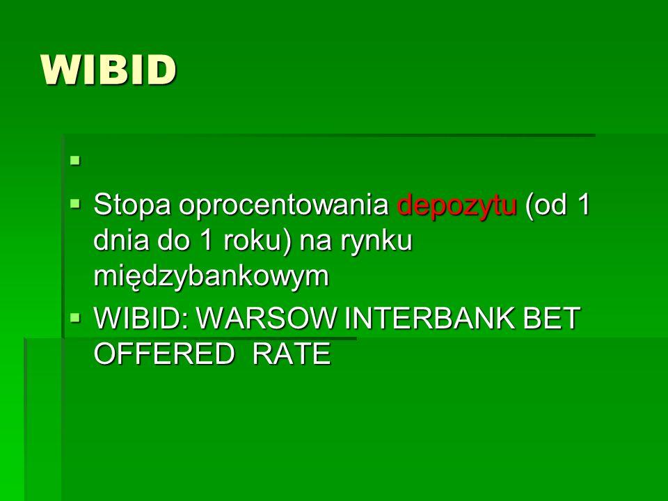 WIBID   Stopa oprocentowania depozytu (od 1 dnia do 1 roku) na rynku międzybankowym  WIBID: WARSOW INTERBANK BET OFFERED RATE