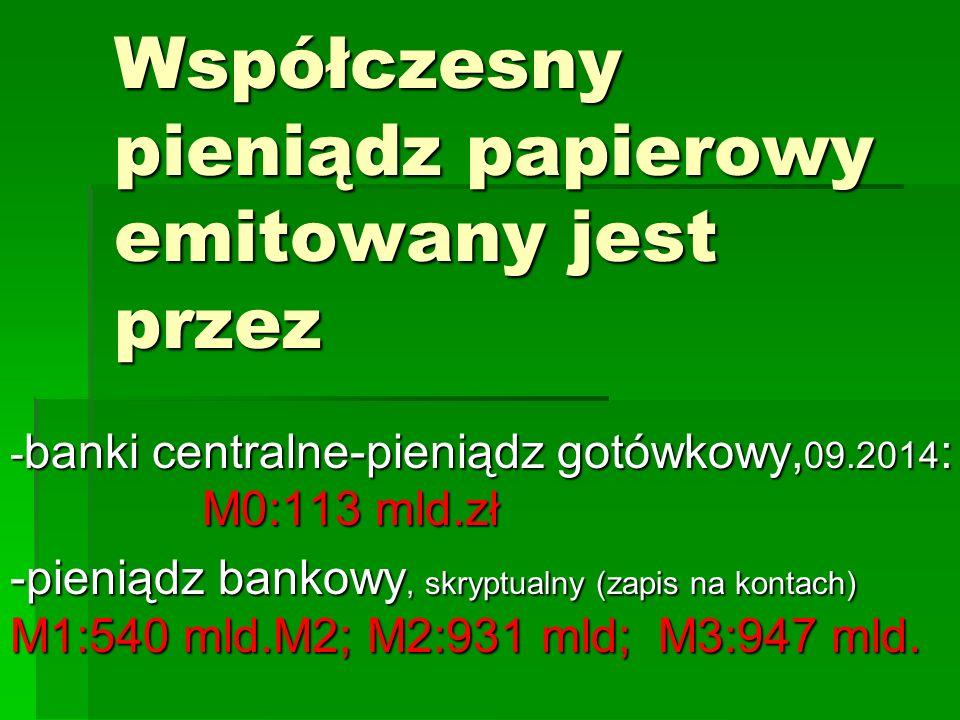 Współczesny pieniądz papierowy emitowany jest przez Banki Centralne - banki centralne-pieniądz gotówkowy, 09.2014 : M0:113 mld.zł -pieniądz bankowy, s