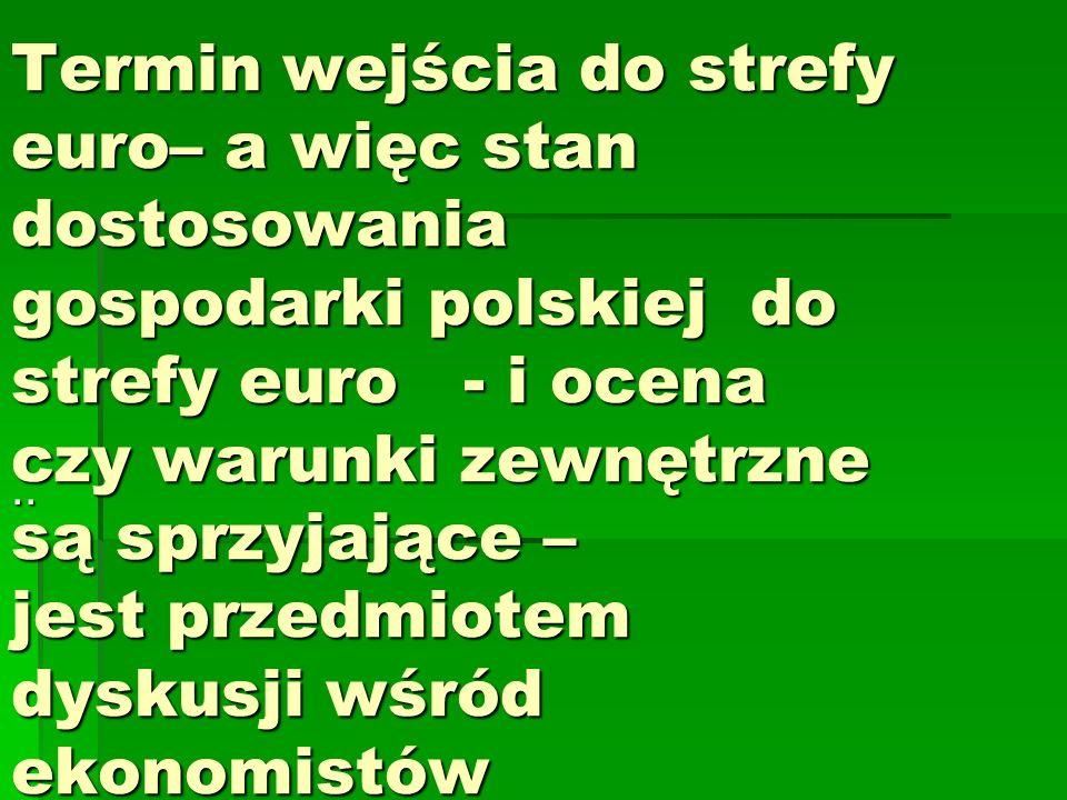 Termin wejścia do strefy euro– a więc stan dostosowania gospodarki polskiej do strefy euro - i ocena czy warunki zewnętrzne są sprzyjające – jest przedmiotem dyskusji wśród ekonomistów..