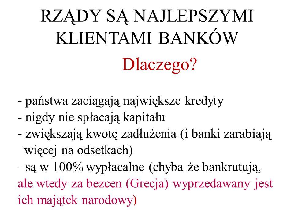 RZĄDY SĄ NAJLEPSZYMI KLIENTAMI BANKÓW Dlaczego.