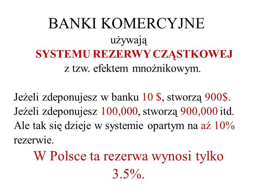 BANKI KOMERCYJNE używają SYSTEMU REZERWY CZĄSTKOWEJ z tzw.