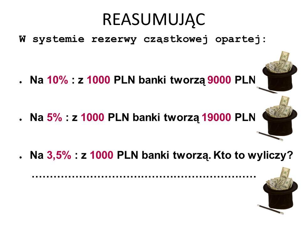 REASUMUJĄC W systemie rezerwy cząstkowej opartej: ● Na 10% : z 1000 PLN banki tworzą 9000 PLN ● Na 5% : z 1000 PLN banki tworzą 19000 PLN ● Na 3,5% : z 1000 PLN banki tworzą.