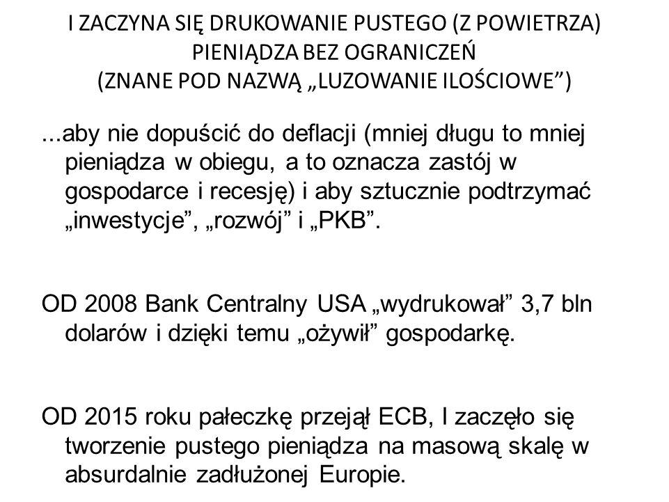 """I ZACZYNA SIĘ DRUKOWANIE PUSTEGO (Z POWIETRZA) PIENIĄDZA BEZ OGRANICZEŃ (ZNANE POD NAZWĄ """"LUZOWANIE ILOŚCIOWE )...aby nie dopuścić do deflacji (mniej długu to mniej pieniądza w obiegu, a to oznacza zastój w gospodarce i recesję) i aby sztucznie podtrzymać """"inwestycje , """"rozwój i """"PKB ."""