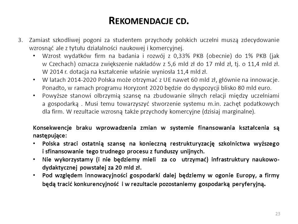 R EKOMENDACJE CD. 3.Zamiast szkodliwej pogoni za studentem przychody polskich uczelni muszą zdecydowanie wzrosnąć ale z tytułu działalności naukowej i