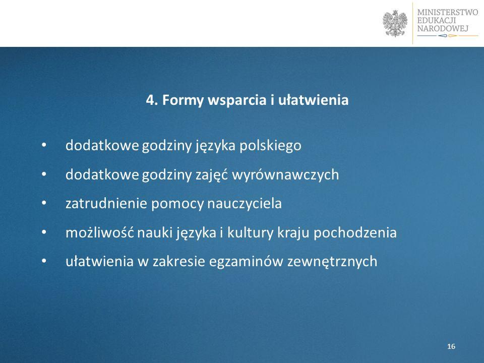 4. Formy wsparcia i ułatwienia dodatkowe godziny języka polskiego dodatkowe godziny zajęć wyrównawczych zatrudnienie pomocy nauczyciela możliwość nauk