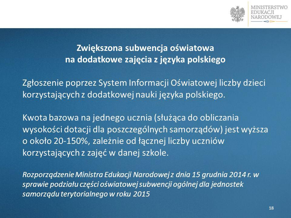 Zwiększona subwencja oświatowa na dodatkowe zajęcia z języka polskiego Zgłoszenie poprzez System Informacji Oświatowej liczby dzieci korzystających z