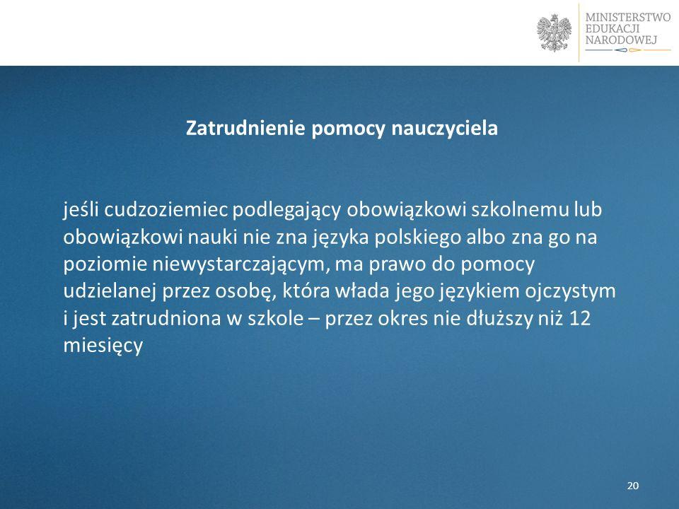 Zatrudnienie pomocy nauczyciela jeśli cudzoziemiec podlegający obowiązkowi szkolnemu lub obowiązkowi nauki nie zna języka polskiego albo zna go na poz