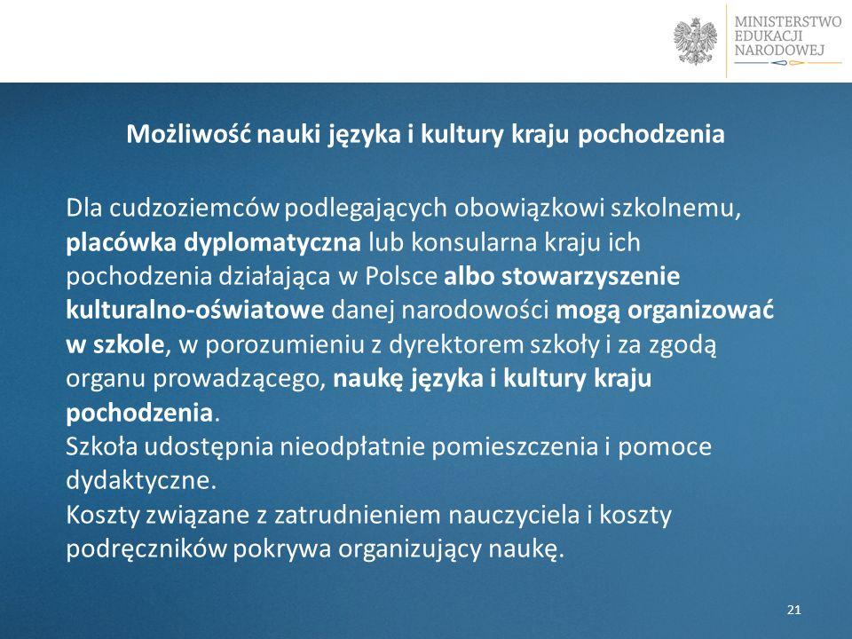 Możliwość nauki języka i kultury kraju pochodzenia Dla cudzoziemców podlegających obowiązkowi szkolnemu, placówka dyplomatyczna lub konsularna kraju i
