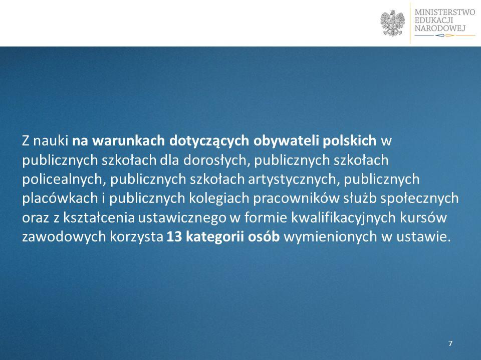 Z nauki na warunkach dotyczących obywateli polskich w publicznych szkołach dla dorosłych, publicznych szkołach policealnych, publicznych szkołach arty