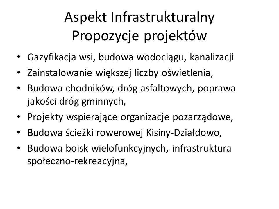 Aspekt Infrastrukturalny Propozycje projektów Gazyfikacja wsi, budowa wodociągu, kanalizacji Zainstalowanie większej liczby oświetlenia, Budowa chodni