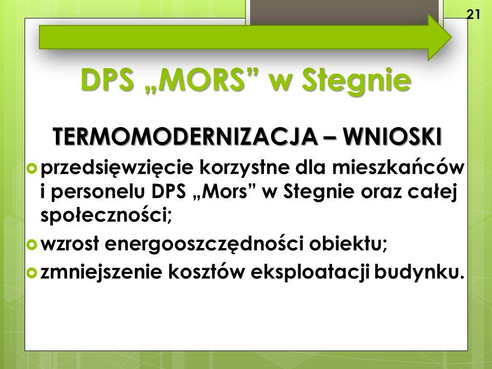 """DPS """"MORS w Stegnie TERMOMODERNIZACJA – WNIOSKI  przedsięwzięcie korzystne dla mieszkańców i personelu DPS """"Mors w Stegnie oraz całej społeczności;  wzrost energooszczędności obiektu;  zmniejszenie kosztów eksploatacji budynku."""