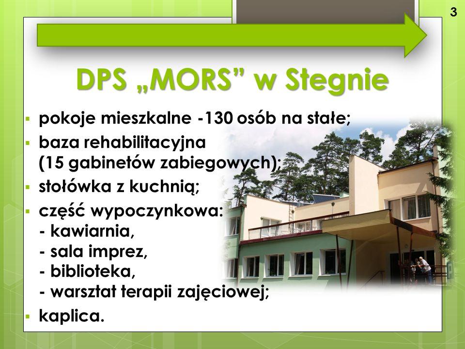 """DPS """"MORS w Stegnie  pokoje mieszkalne -130 osób na stałe;  baza rehabilitacyjna (15 gabinetów zabiegowych);  stołówka z kuchnią;  część wypoczynkowa: - kawiarnia, - sala imprez, - biblioteka, - warsztat terapii zajęciowej;  kaplica."""