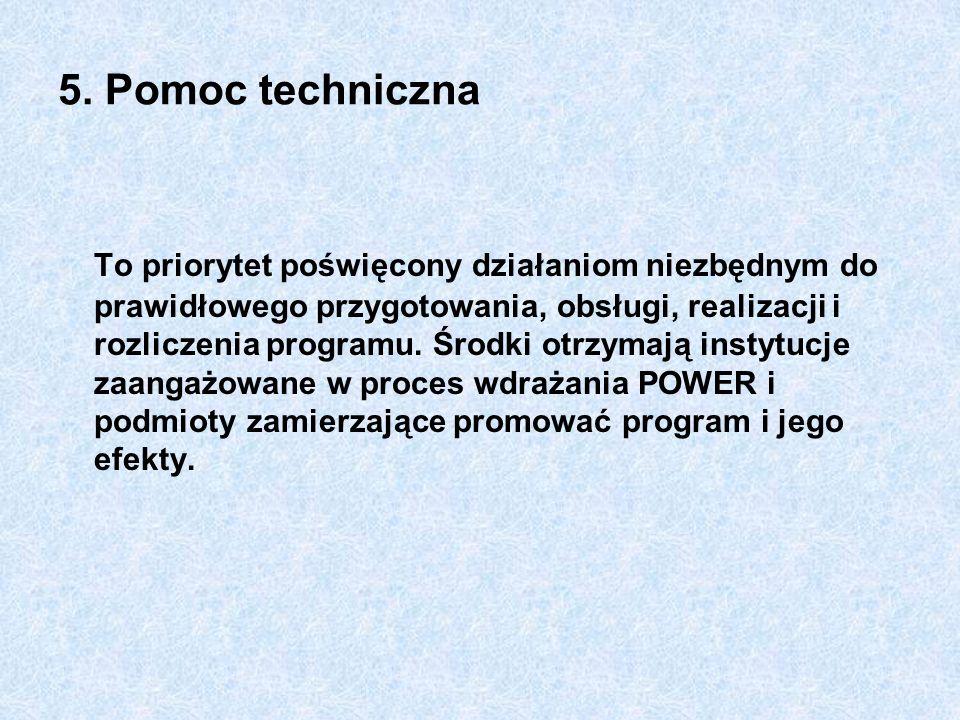 5. Pomoc techniczna To priorytet poświęcony działaniom niezbędnym do prawidłowego przygotowania, obsługi, realizacji i rozliczenia programu. Środki ot