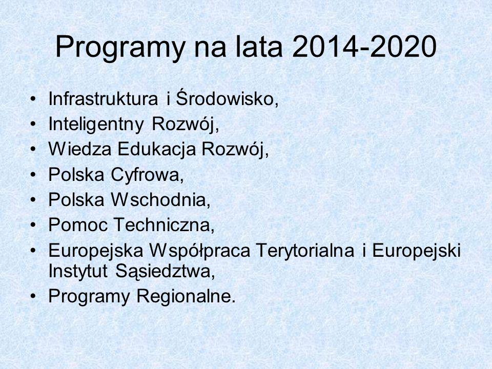 Programy na lata 2014-2020 Infrastruktura i Środowisko, Inteligentny Rozwój, Wiedza Edukacja Rozwój, Polska Cyfrowa, Polska Wschodnia, Pomoc Techniczna, Europejska Współpraca Terytorialna i Europejski Instytut Sąsiedztwa, Programy Regionalne.