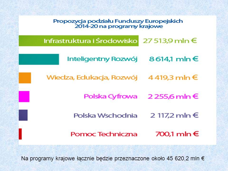 Na programy krajowe łącznie będzie przeznaczone około 45 620,2 mln €