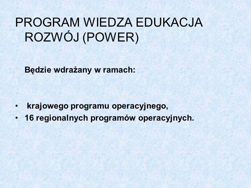 PROGRAM WIEDZA EDUKACJA ROZWÓJ (POWER) Będzie wdrażany w ramach: krajowego programu operacyjnego, 16 regionalnych programów operacyjnych.