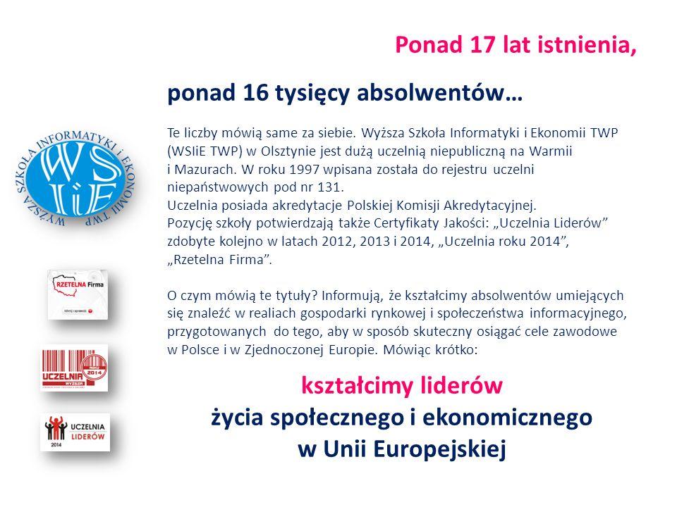 Ponad 17 lat istnienia, ponad 16 tysięcy absolwentów… Te liczby mówią same za siebie. Wyższa Szkoła Informatyki i Ekonomii TWP (WSIiE TWP) w Olsztynie