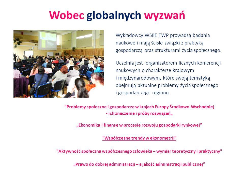 Wykładowcy WSIiE TWP prowadzą badania naukowe i mają ścisłe związki z praktyką gospodarczą oraz strukturami życia społecznego. Uczelnia jest organizat