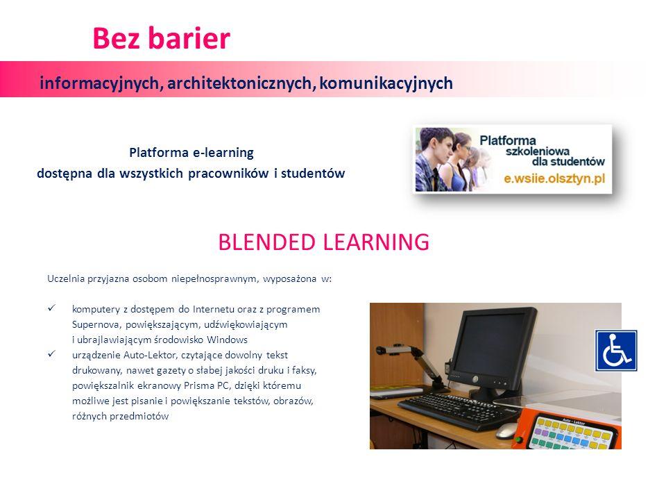 Platforma e-learning dostępna dla wszystkich pracowników i studentów Uczelnia przyjazna osobom niepełnosprawnym, wyposażona w: komputery z dostępem do Internetu oraz z programem Supernova, powiększającym, udźwiękowiającym i ubrajlawiającym środowisko Windows urządzenie Auto-Lektor, czytające dowolny tekst drukowany, nawet gazety o słabej jakości druku i faksy, powiększalnik ekranowy Prisma PC, dzięki któremu możliwe jest pisanie i powiększanie tekstów, obrazów, różnych przedmiotów informacyjnych, architektonicznych, komunikacyjnych Bez barier BLENDED LEARNING
