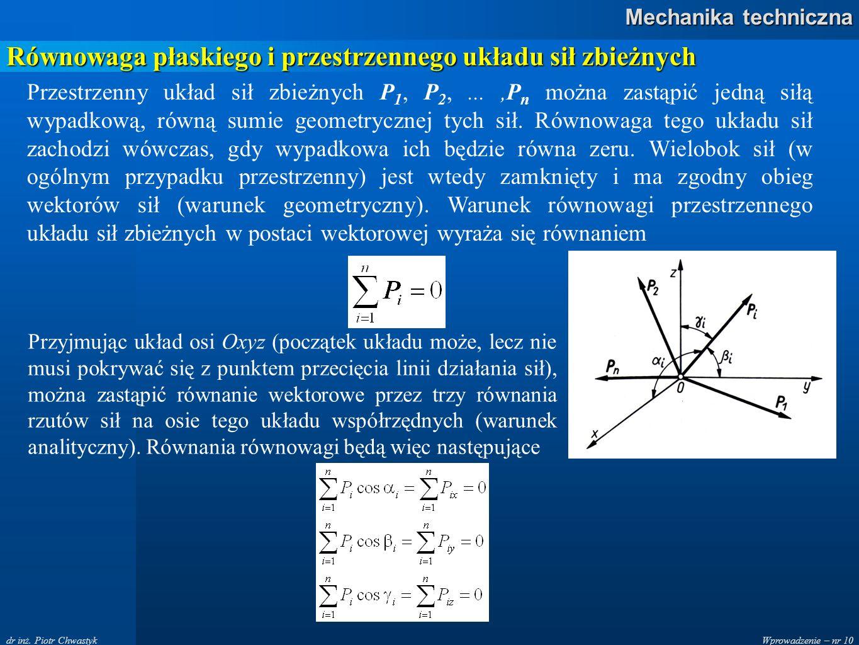 Wprowadzenie – nr 10 Mechanika techniczna dr inż. Piotr Chwastyk Równowaga płaskiego i przestrzennego układu sił zbieżnych Przestrzenny układ sił zbie