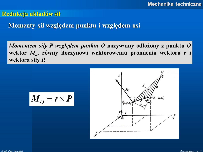 Wprowadzenie – nr 11 Mechanika techniczna dr inż. Piotr Chwastyk Redukcja układów sił Momenty sił względem punktu i względem osi Momentem siły P wzglę