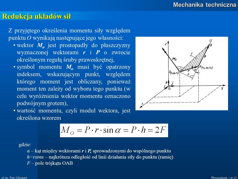 Wprowadzenie – nr 12 Mechanika techniczna dr inż. Piotr Chwastyk Redukcja układów sił Z przyjętego określenia momentu siły względem punktu O wynikają