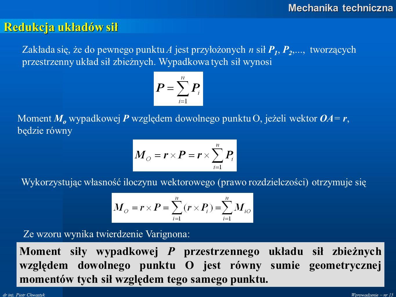 Wprowadzenie – nr 15 Mechanika techniczna dr inż. Piotr Chwastyk Redukcja układów sił Zakłada się, że do pewnego punktu A jest przyłożonych n sił P 1,