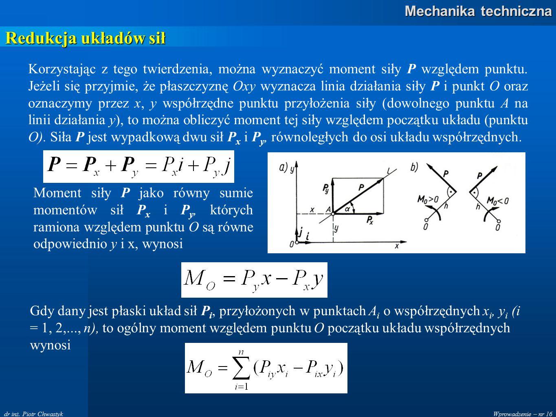 Wprowadzenie – nr 16 Mechanika techniczna dr inż. Piotr Chwastyk Redukcja układów sił Korzystając z tego twierdzenia, można wyznaczyć moment siły P wz