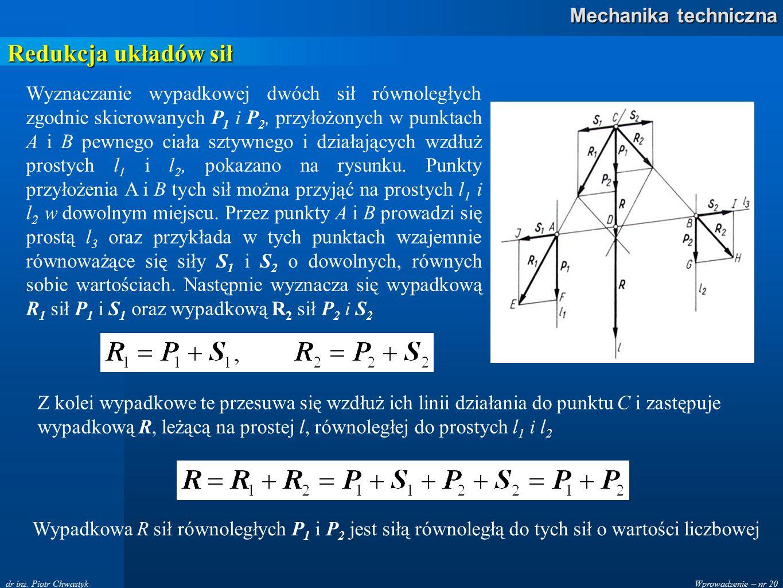 Wprowadzenie – nr 20 Mechanika techniczna dr inż. Piotr Chwastyk Redukcja układów sił Wyznaczanie wypadkowej dwóch sił równoległych zgodnie skierowany